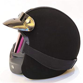 YANGBAO Casco Moto Unisex Casco Negro De Cuatro Estaciones con Gafas De Máscara Casco De Casco