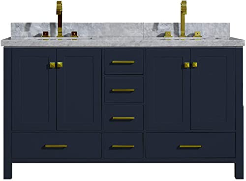 ARIEL Cambridge A061DCWRVOMNB 61 Inch Double Sink Bathroom Vanity Cabinet in Midnight Blue With Carrara White Marble Countertop Rectangular Sinks