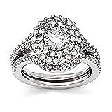 Best Birthday Gift Sterling Silver & CZ Brilliant Embers Rhodium 2-piece Wedding Set