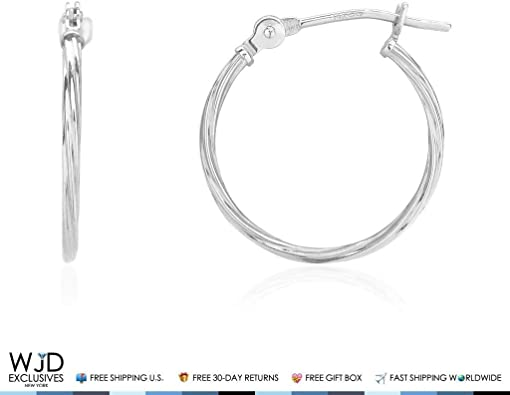 14K White 12mm Rope Design Hoop Earrings
