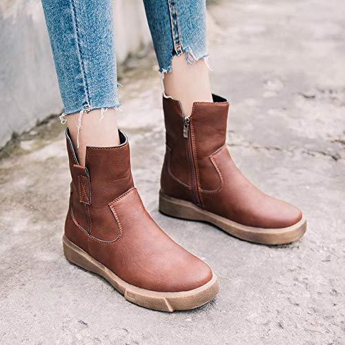 Estudiantes Phy Gran Tamaño Algodón Más Botas Shoe 棕色 Damas Cálidas De Mujer Para wqxCABxg