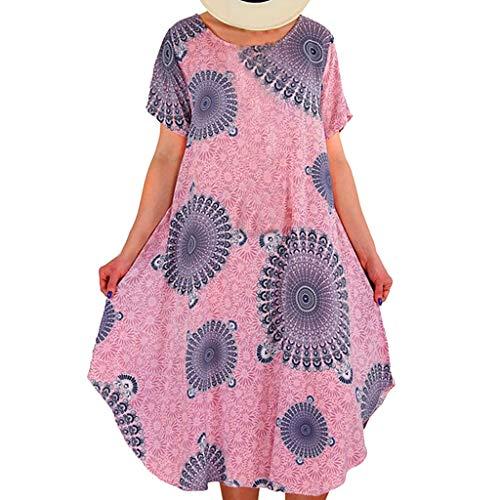 Tantisy ♣↭♣ Women's Summer Casual Floral Print Short Sleeve Flared Midi Dress/Plus Size S-XXXXXL - Cup Armour Under Bra Molded