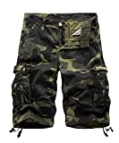 FOURSTEEDS Women's Camouflage Cargo Shorts with Multi-Pockets Wide Leg