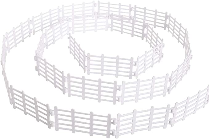 YUCAN 50PCS Toys Fence Horse Corral Fencing Accessories Playset, Plastic Garden Fence Toys Farm Animals Horses Figurines, Fence Panels, Paddock Toys, Cake Toppers for Kids (White-Y): Amazon.com.au: Toys & Games