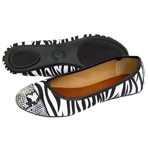 Damen Flach Schwarz weiß zum Reinschlüpfen Ballerina Bequem Ballerinas Schuhe Größen 3-6