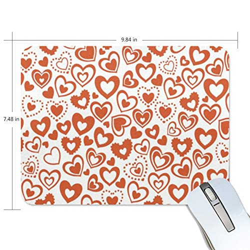 Funny Mouse Pad Personalized Hearts Valentines Day Love Rectangle Shape for Office Computer Work (9.84 x 7.48 inch) -