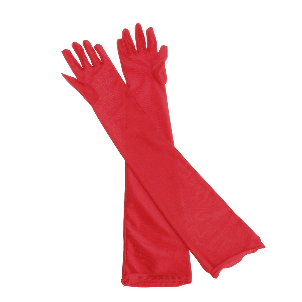 Redriver Women Evening Party Gloves Formal Costume Elastic Satin Mittens