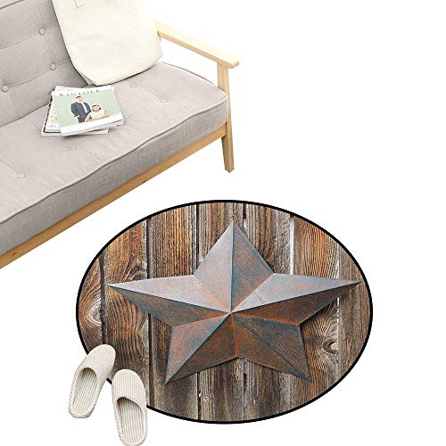 Primitive Country Round Rug ,Antique Rusty Star Figure on The Weathered Wooden Planks Vintage Retro Image, Art Deco Non-Slip Backing Machine Washable 47