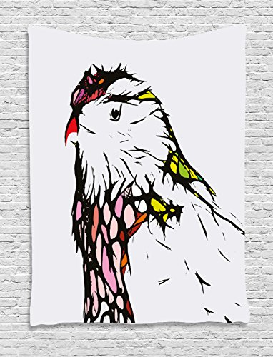 Animal Tapestry by Ambesonne, Chicken Bird Head Portrait Sketch with Colorful Details Caricature Pet Zoo Image, Wall Hanging for Bedroom Living Room Dorm, 40 W X 60 L Inches, (Colorful Chicken)