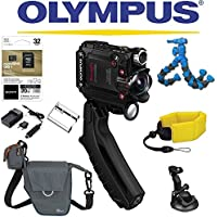 Olympus Stylus Tough TG-Tracker Wifi Action Camera (Black) + Sony 32GB MicroSD Card + Floating Strap + Flexpod + Case + Travel Charger + Battery + Suction Mount