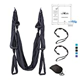 Cheap seveni Yoga Swing/Yoga Hammock/Ceiling Anchors/Daisy Chains Beginner Instruction Guide Included 400ibs(14colors) (Black)