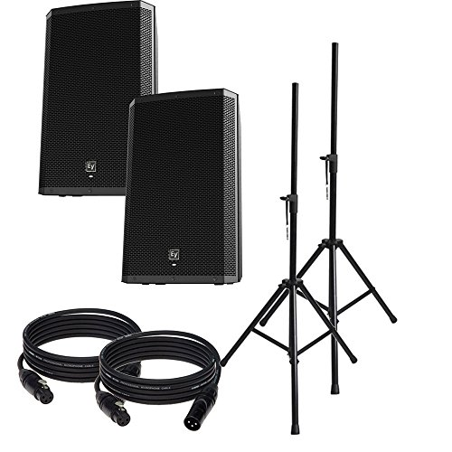 """EV Electro-Voice ZLX-12P Pair of 12"""" Powered 1000W Speakers W/ Stands and Cables"""