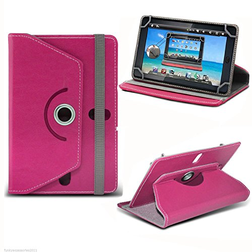 Pink Universal 7 Inch Premium PU Leather Folio Style Flip Wallet Case Cover...