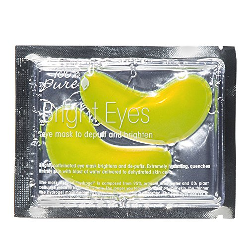 100% PURE Bright Eyes Mask (Single Pack), De-Puffing Under Eye Mask, Brightens Dark Circles, Vegan Undereye Patches For Tired Eyes, Hydrating and Moisturizing - 1 PACK