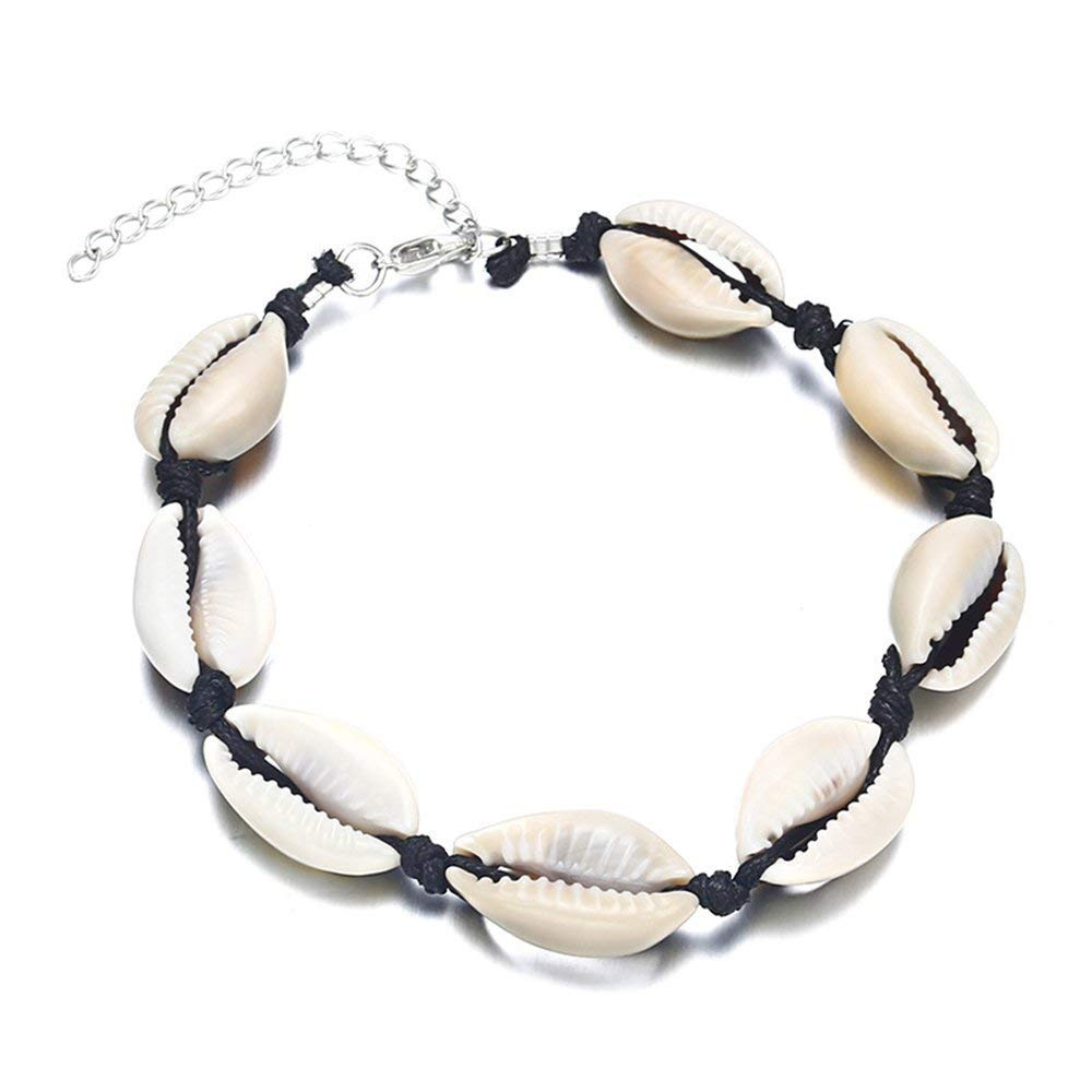 CHOROY Shell Anklet Foot Jewelry Cowrie Hawaiian Natural Shell Bead Anklet Beach Jewelry Shell Bracelet for Women (Shell Anklet)