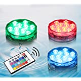 Submersible LED Light, 10-LED Multi Color Underwater Waterproof Lights for Vase,Bowl, Fish Tank, Wedding, Party, Centerpiece, Halloween Decors with Romote Control