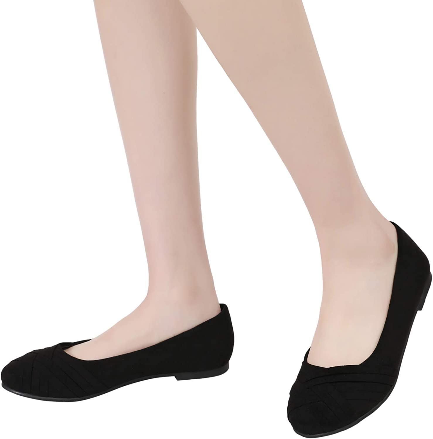 Round Toe Suede Classic Cozy Cute Slip-on Ballet Flats. Ataiwee Womens Wide Width Flat Shoes