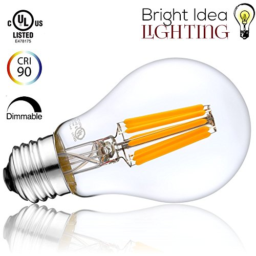 Linear Clear Incandescent Light Bulb (BRIGHT IDEA LED Filament, 10 Watt Dimmable A19 Edison Light Bulb (75W-100W Incandescent Equivalent), 2700K Healthy Warm Soft White, UL Listed, E26/E27 Base, Antique Energy Saving, 1000LM - 1PACK)
