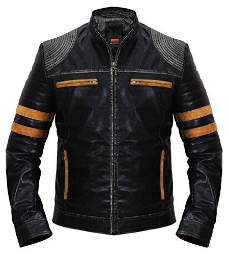 Men Motorcycle Vintage Distressed Black Biker Quilted Cafe Racer Retro Orange Striped Leather ()