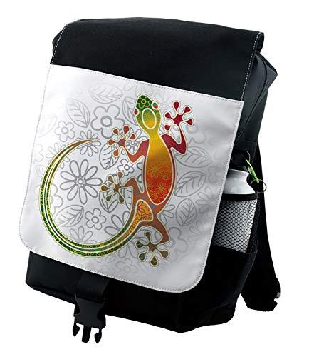 Ambesonne Batik Backpack, Art Frog Flowers, Durable All-Purpose ()