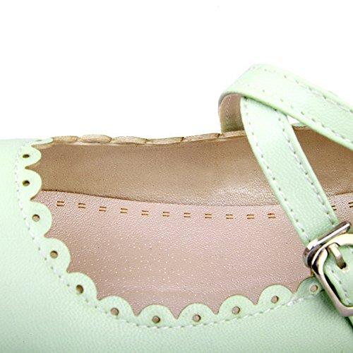Buckle Green Shoes Heel Microfiber Pumps No Womens AmoonyFashion Solid vza74qHzR
