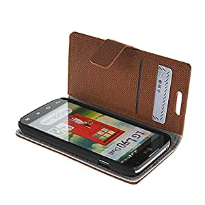 Flyshell Flip Leather Wallet Card Pouch Stand Back Case Cover For LG L90 Dual D410 Brown