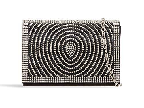 Wedding Evening LeahWard Bag Diamante Handbags 387 Black Clutch Women's vqqB6wxI