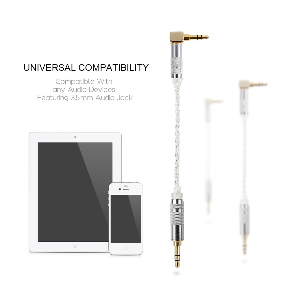 3.5mm Auxiliary Audio Cable,Gleewin Angle Slim Soft AUX Cable Compatible Headphones iPhones iPods Home//Car Stereos /& More 0.5M iPads