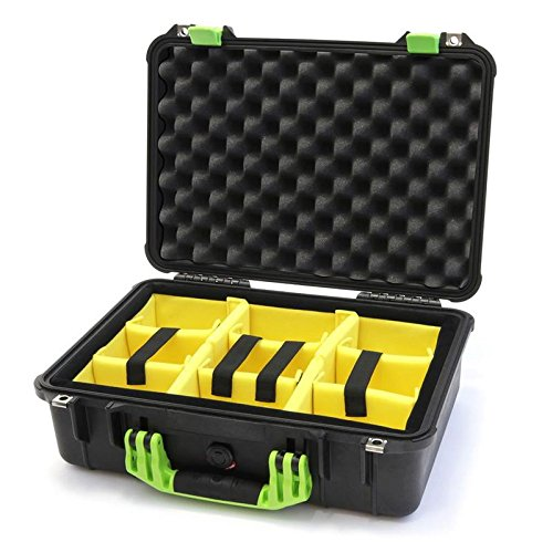 New Pelican Black & Lime Green 1500 with Yellow Padded Dividers. by Pelican