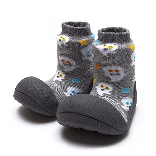 Attipas Best First Walker Shoes Baby Cotton Socks Shoes Non Toxic Safe Great Baby Registry Gifts (US Toddler 6.5, Halloween Gray) ()