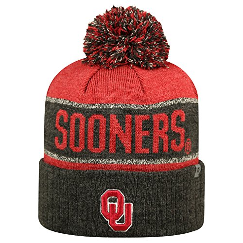 Oklahoma Sooners Ncaa Top Of The World  Below Zero  Striped Cuffed Knit Hat