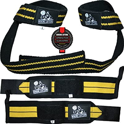 Wrist Wraps + Lifting Straps Bundle (2 Pairs) for Weightlifting/Crossfit/Workout/Gym/Powerlifting/Bodybuilding - Better Than Chalk & Leather - Support For Women & Men - Premium Quality Equipment & Accessories - Use Gloves, Hooks, Wraps & Straps to Avoid I