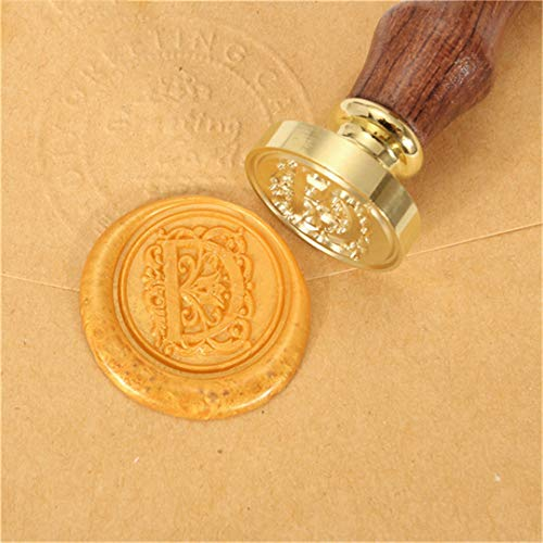 (RESELWXST 1X Wooden Handle Flower Pattern 26 Letters Alphabet Wax Badge Seal Stamp Wax Letter A-Z Pattern D)
