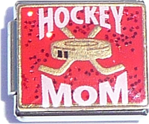 - Hockey Mom On Red Italian Charm
