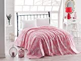 LaModaHome Luxury Soft Colored Twin and Single Bedroom Bedding 100% Cotton Single Coverlet (Pique) Thin Coverlet Summer/Bird Cage Animal Tree Plant Flower Nature Pink and White
