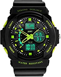 Fanmis Boys Girls Multi-function Cool S-shock Sports Watch LED Analog Digital Waterproof Alarm - Green