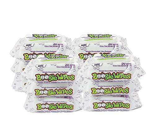 Boogie Wipes Soft Natural Saline Wet Tissues for Baby and Kids Sensitive Nose, Hand and Face with Moisturizing Aloe, Chamomile and Vitamin E, Unscented, 30 Count, Pack of 12 by Boogie Wipes