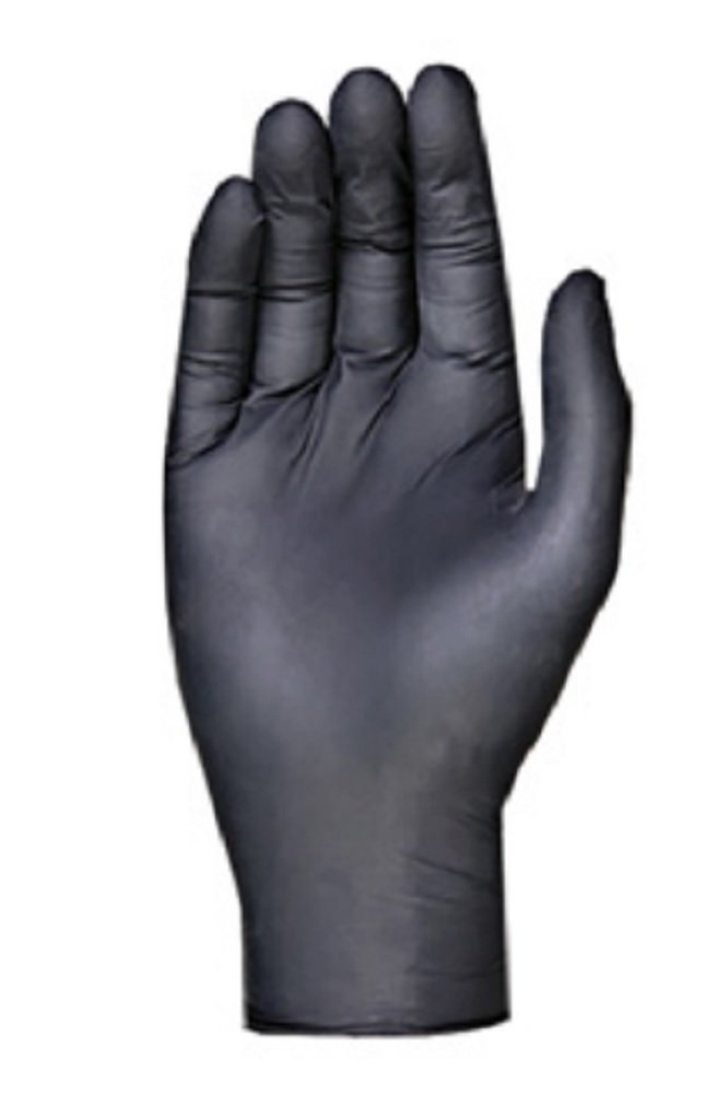 100 Pack Black Barrier Nitrile Examination Gloves. Chemical Resistant Powder Free Gloves. Disposable Finger Textured Latex Free Gloves for Medical use, Cleaning. Packaging in bulk, wholesale price.