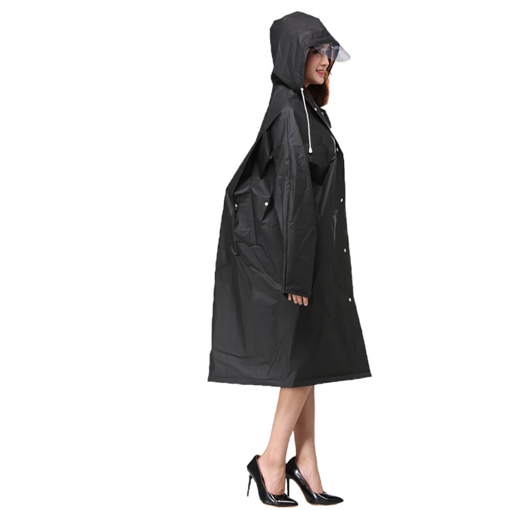 PAQI Rain Ponchos Coat Gear with Drawstring Hood, Disposable Extra Thick for Women Girls (M, Black)