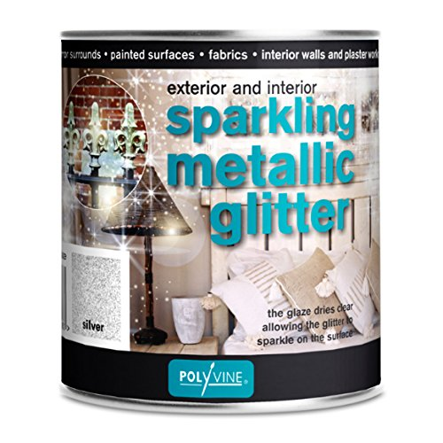 Polyvine Sparkling Metallic Glitter Glaze 500ml US Pint (Silver)