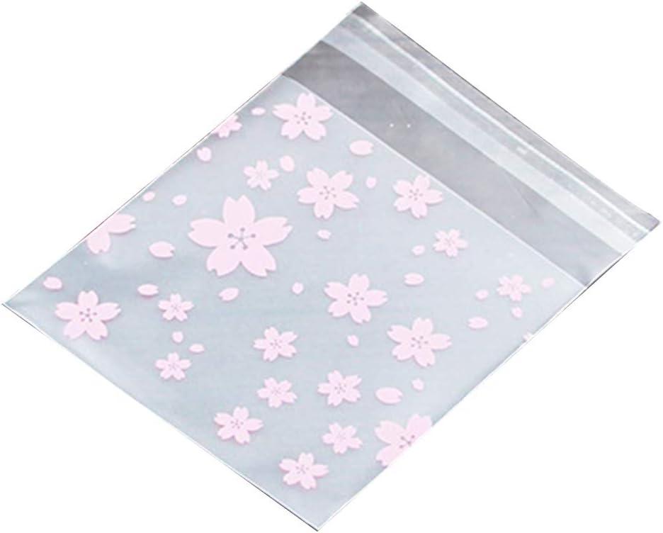 MoGist 100Unidades Etiqueta OPP Bolsa Escarchado Bonito Color Rosa Flores de Cerezo Cookie Caramelos Regalo Bolsas Bolsas con Cierre a presión, 7 * 7+3cm, 7 * 7cm+3cm