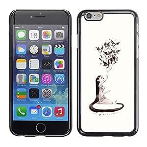 """For Iphone 6/6S (4.7 INCH) Case , Naturaleza del amor de Arte de chicas Aves de Long Hair Art Dibujo"""" - Diseño Patrón Teléfono Caso Cubierta Case Bumper Duro Protección Case Cover Funda"""