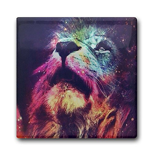 Creative Lion Paint Love Design Square Coasters Cork Ceramic Coasters For Kitchen Dining Bar Office Home - Branson For Kids Mo