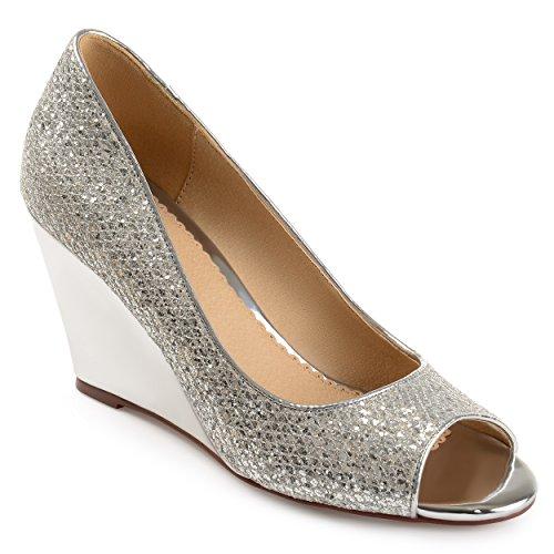Brinley Co Womens Sanne Glitter Open-toe Cunei Metallici Argento