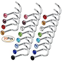 Rbenxia Nose Stud Rings 20pcs Stainless Steel Rhinestone Body Piercing Nose Stud Assorted Color