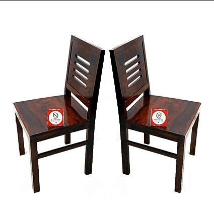 Santosha Decor Pre- Assemble Solid Sheesham Wood Set of 2 Multipurpose Chair with Mahogany Finish