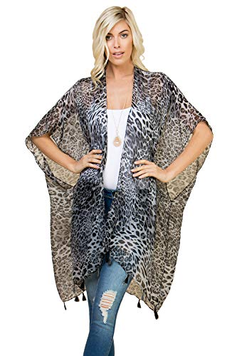 Sheer Beachwear Bathing Swimsuit Bikini Cover Up - Drape Kaftan Shawl Leopard Animal Print Open Kimono Cardigan, Vest (Kimono Cardi Mini Tassels - Leopard Gray)