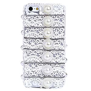ZXSPACE Romantic Lace Pearl Pattern Metal Jewelry Back Case for iPhone 5C