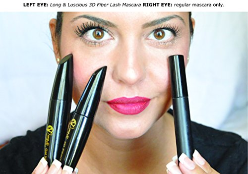 3D Fiber Lash Mascara 3X Lengthen & Volume Eye Makeup by Long & Luscious – Best Eyelash Extensions or Falsies Look with…