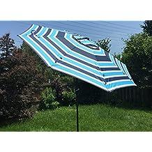Patio Umbrella ( 9 ft ) Premium Garden Parasol / Outdoor Umbrella with Push Button Tilt , Crank and 8 Strong Steel Ribs , Polyester Fabric Market Umbrella with Air Vent by GardeniaHome&Garden (Stripes Pattern B)
